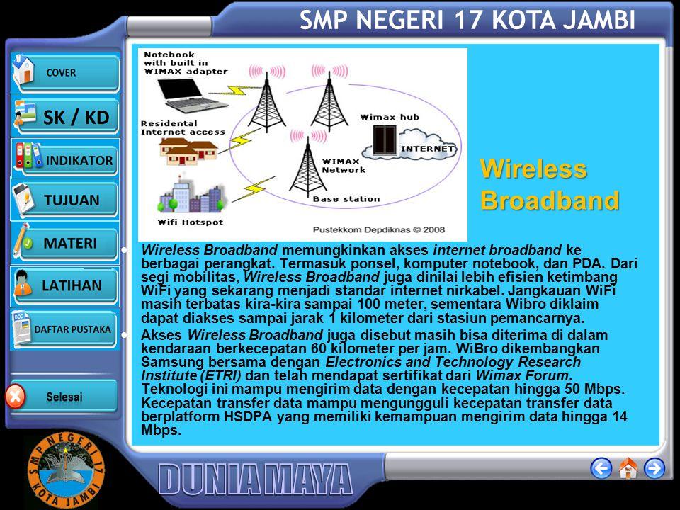 SMP NEGERI 17 KOTA JAMBI Wifi ( Kecepatan Akses Internet-WiFi) Teknologi jaringan tanpa kabel menggunakan frekuensi tinggi berada pada spektrum 2,4 GH