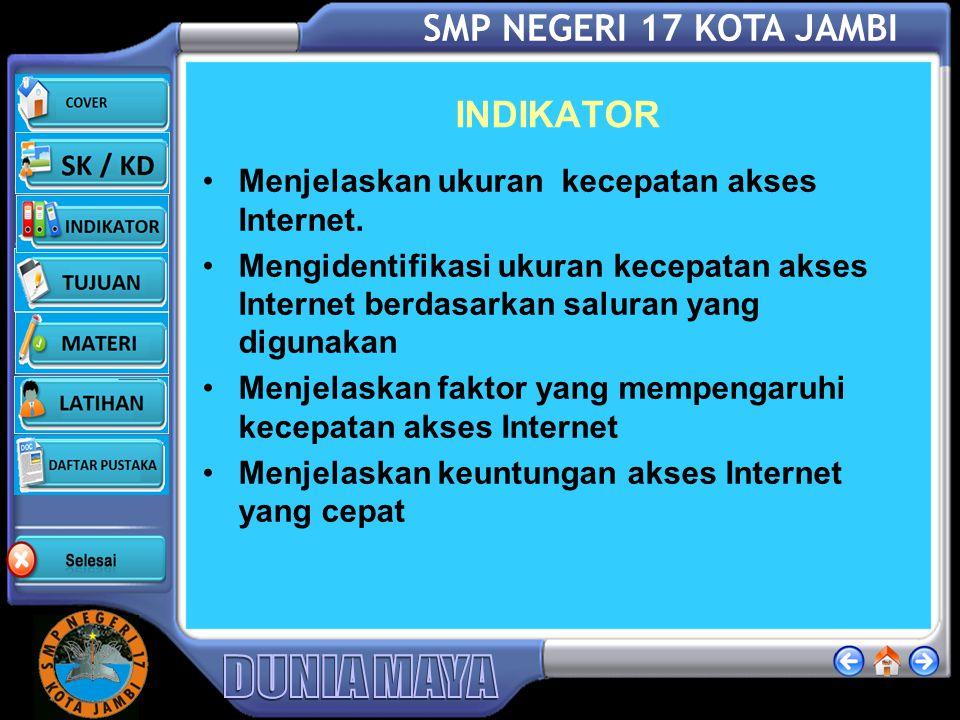 SMP NEGERI 17 KOTA JAMBI KOMPETENSI Standar kompetensi 1. Memahami dasar-dasar penggunaan Internet / Intranet KOMPETENSI DASAR 1.3. Mengenal ukuran ke