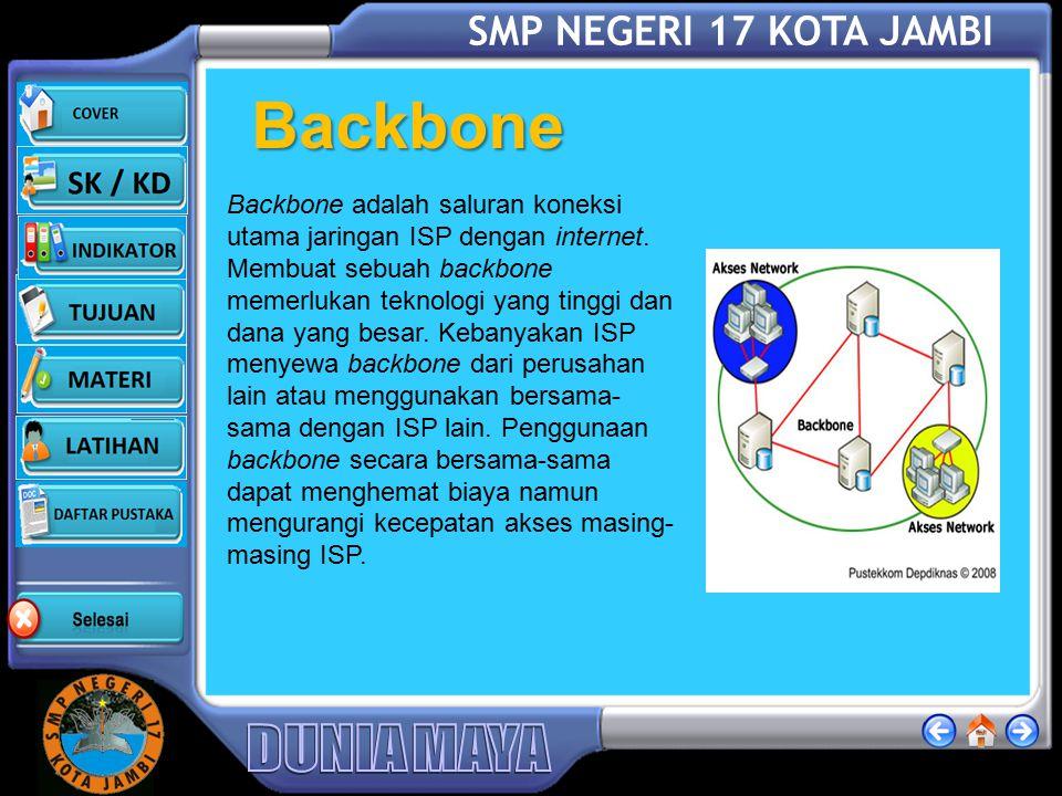 SMP NEGERI 17 KOTA JAMBI Backbone Backbone adalah saluran koneksi utama jaringan ISP dengan internet.