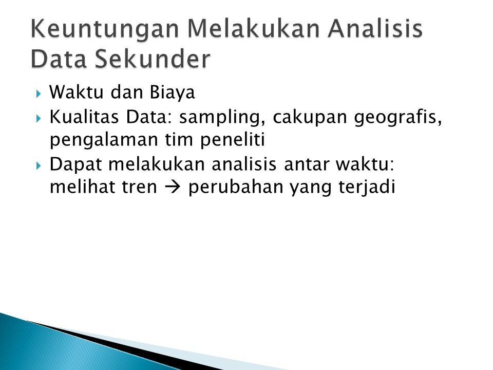  Waktu dan Biaya  Kualitas Data: sampling, cakupan geografis, pengalaman tim peneliti  Dapat melakukan analisis antar waktu: melihat tren  perubahan yang terjadi