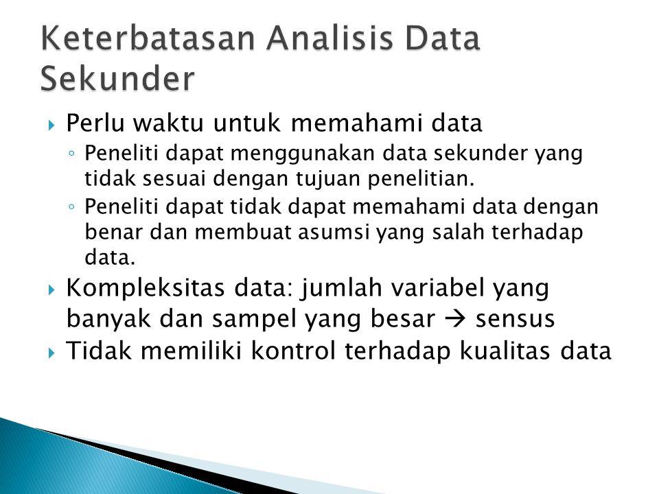  Perlu waktu untuk memahami data ◦ Peneliti dapat menggunakan data sekunder yang tidak sesuai dengan tujuan penelitian. ◦ Peneliti dapat tidak dapat