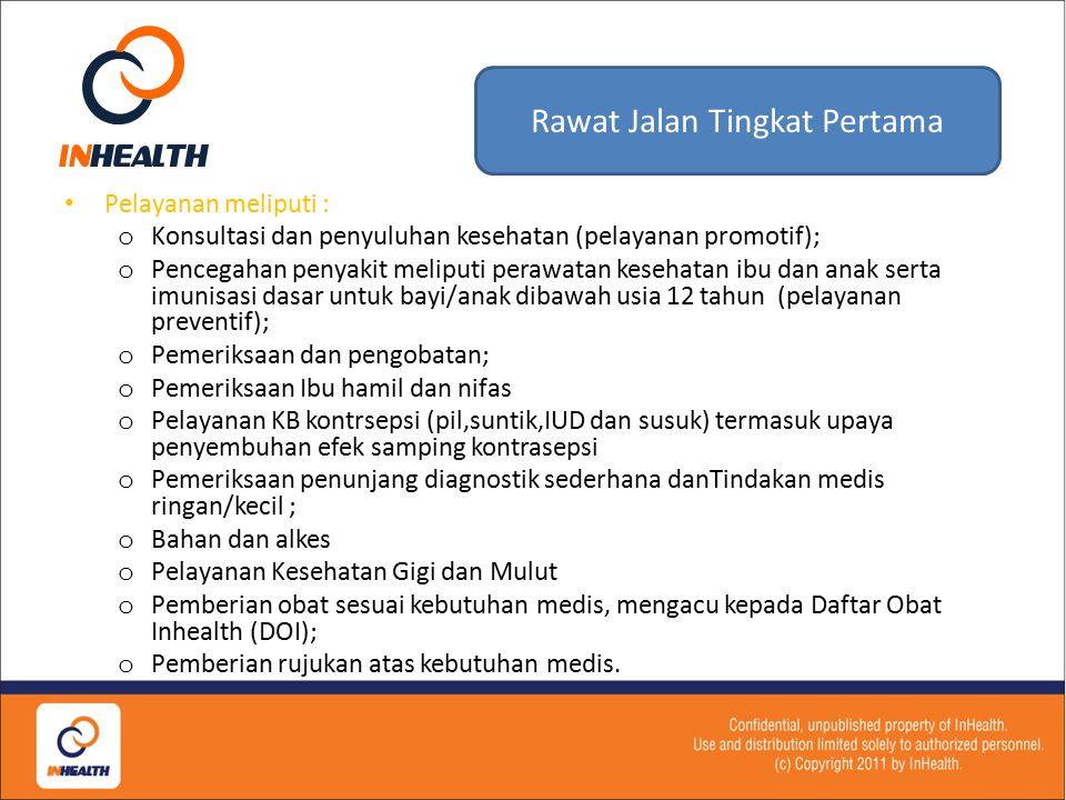 Prosedur Rawat Jalan Tingkat Pertama 14 Dokter Keluarga InHealth Atas indikasi medis melakukan tindakan: 1.Konsultasi, Pemeriksaan dan pengobatan 2.Me