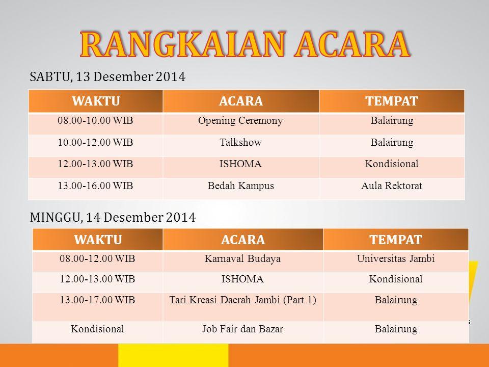SABTU, 13 Desember 2014 MINGGU, 14 Desember 2014 WAKTUACARATEMPAT 08.00-10.00 WIBOpening CeremonyBalairung 10.00-12.00 WIBTalkshowBalairung 12.00-13.0