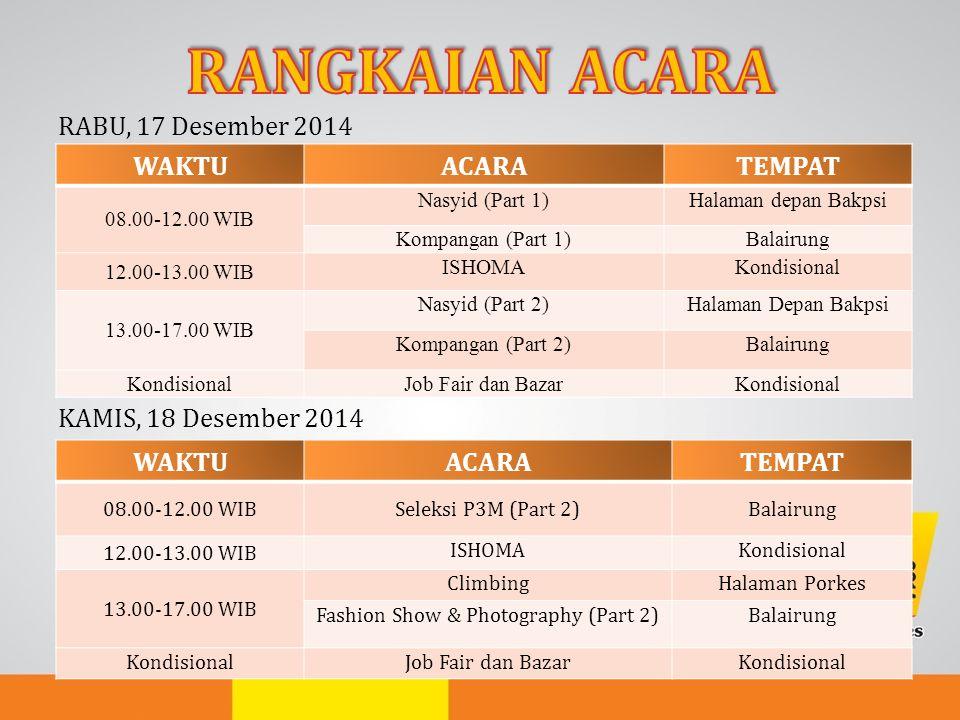 RABU, 17 Desember 2014 KAMIS, 18 Desember 2014 WAKTUACARATEMPAT 08.00-12.00 WIB Nasyid (Part 1)Halaman depan Bakpsi Kompangan (Part 1)Balairung 12.00-