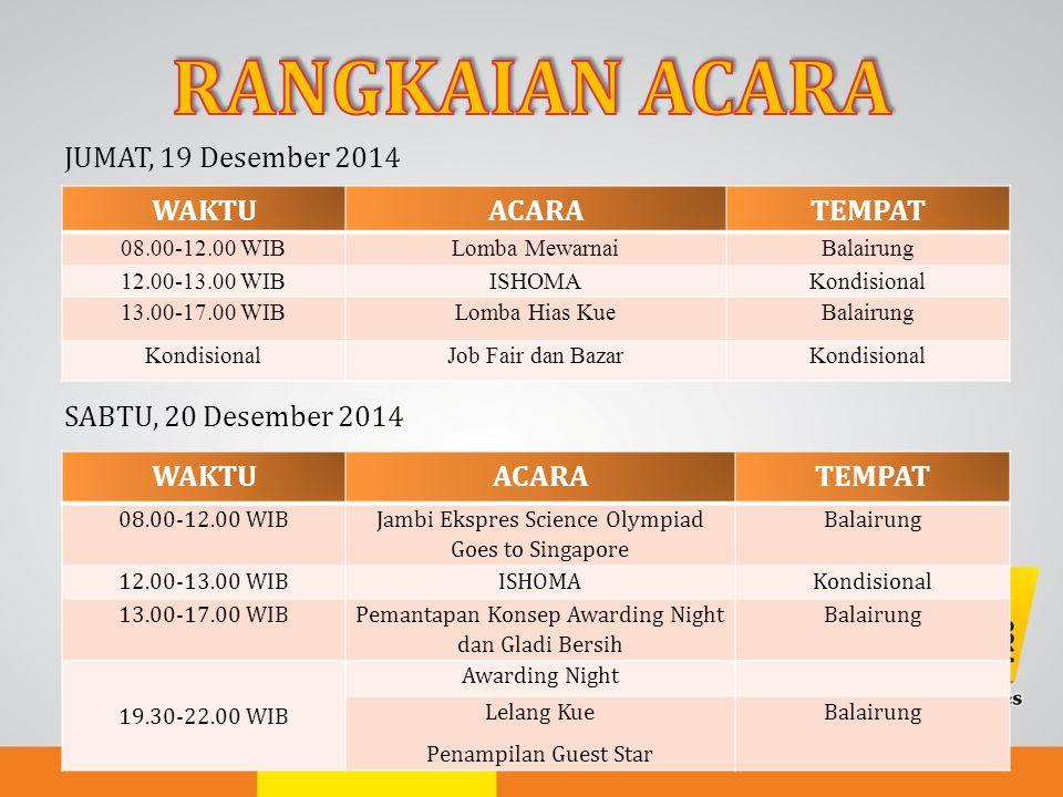 JUMAT, 19 Desember 2014 SABTU, 20 Desember 2014 WAKTUACARATEMPAT 08.00-12.00 WIBLomba MewarnaiBalairung 12.00-13.00 WIBISHOMAKondisional 13.00-17.00 W