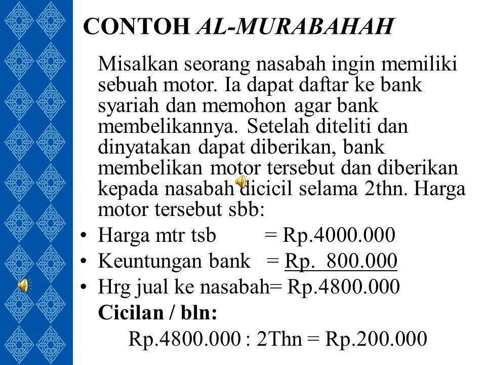 CONTOH AL-MURABAHAH Misalkan seorang nasabah ingin memiliki sebuah motor.