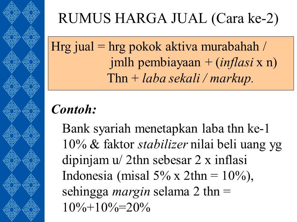 RUMUS HARGA JUAL (Cara ke-2) Contoh: Bank syariah menetapkan laba thn ke-1 10% & faktor stabilizer nilai beli uang yg dipinjam u/ 2thn sebesar 2 x inflasi Indonesia (misal 5% x 2thn = 10%), sehingga margin selama 2 thn = 10%+10%=20% Hrg jual = hrg pokok aktiva murabahah / jmlh pembiayaan + (inflasi x n) Thn + laba sekali / markup.