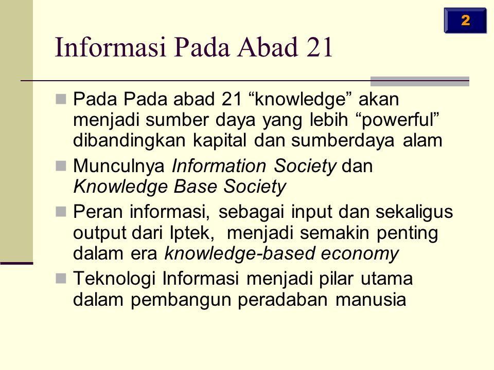 """Informasi Pada Abad 21 Pada Pada abad 21 """"knowledge"""" akan menjadi sumber daya yang lebih """"powerful"""" dibandingkan kapital dan sumberdaya alam Munculnya"""