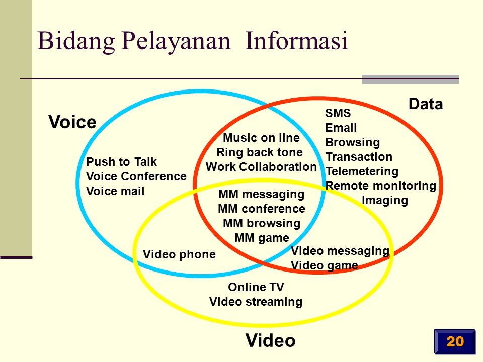 Voice Data Video Push to Talk Voice Conference Voice mail Music on line Ring back tone Work Collaboration SMS Email Browsing Transaction Telemetering