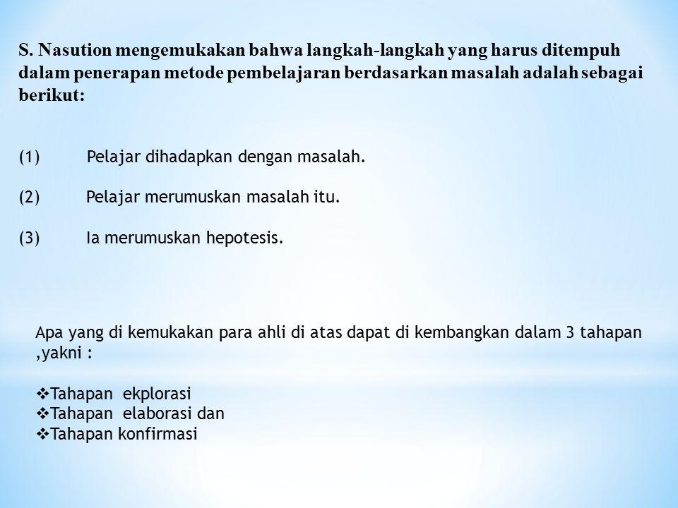 S. Nasution mengemukakan bahwa langkah-langkah yang harus ditempuh dalam penerapan metode pembelajaran berdasarkan masalah adalah sebagai berikut: (1)