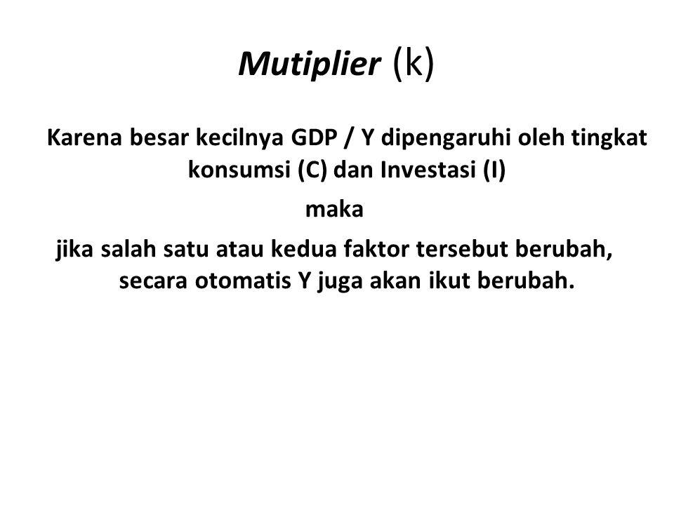 Mutiplier (k) Karena besar kecilnya GDP / Y dipengaruhi oleh tingkat konsumsi (C) dan Investasi (I) maka jika salah satu atau kedua faktor tersebut berubah, secara otomatis Y juga akan ikut berubah.