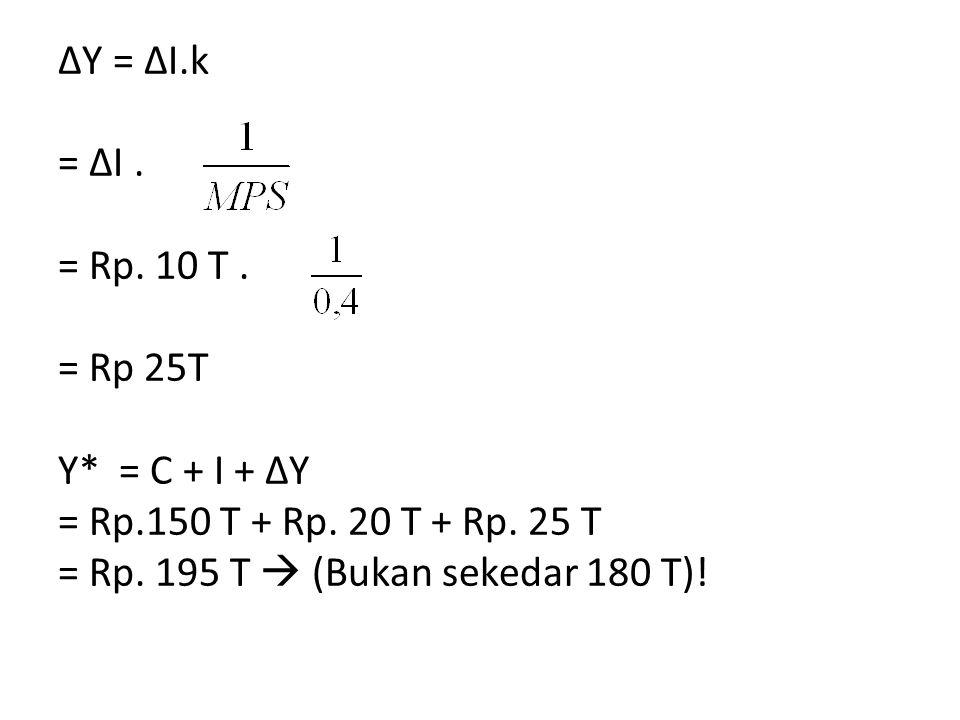 ΔY = ΔI.k = ΔI.= Rp. 10 T. = Rp 25T Y* = C + I + ΔY = Rp.150 T + Rp.
