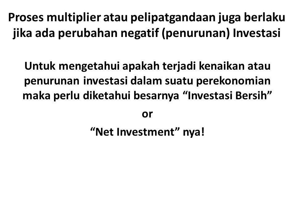 Proses multiplier atau pelipatgandaan juga berlaku jika ada perubahan negatif (penurunan) Investasi Untuk mengetahui apakah terjadi kenaikan atau penurunan investasi dalam suatu perekonomian maka perlu diketahui besarnya Investasi Bersih or Net Investment nya!