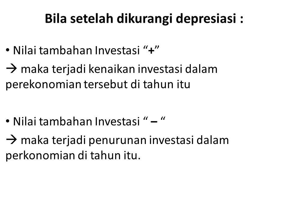 Bila setelah dikurangi depresiasi : Nilai tambahan Investasi +  maka terjadi kenaikan investasi dalam perekonomian tersebut di tahun itu Nilai tambahan Investasi –  maka terjadi penurunan investasi dalam perkonomian di tahun itu.