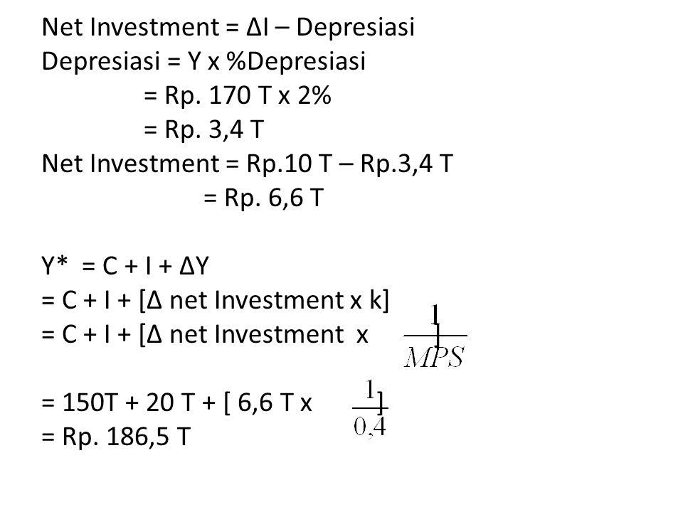 Net Investment = ΔI – Depresiasi Depresiasi = Y x %Depresiasi = Rp.