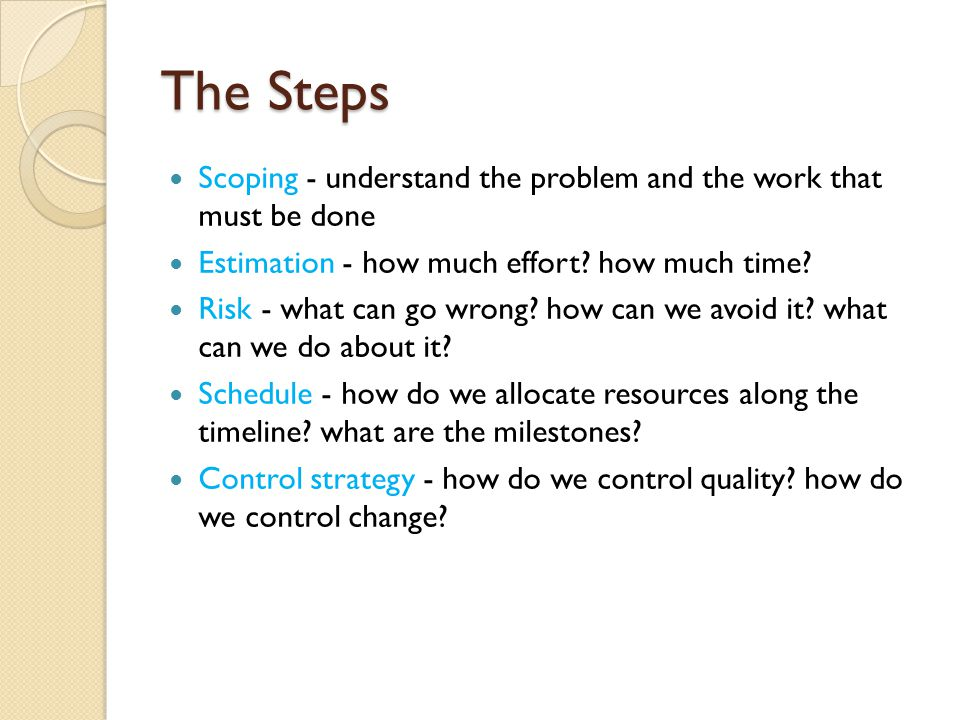 The Steps Scoping - understand the problem and the work that must be done Estimation - how much effort.