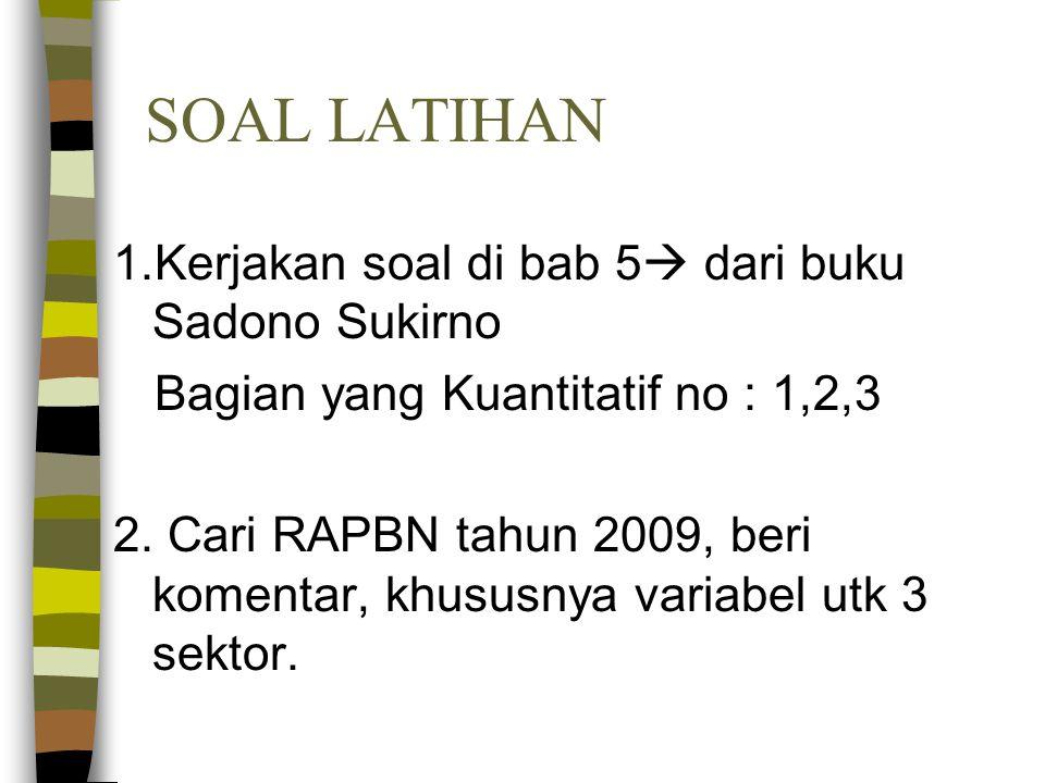 SOAL LATIHAN 1.Kerjakan soal di bab 5  dari buku Sadono Sukirno Bagian yang Kuantitatif no : 1,2,3 2. Cari RAPBN tahun 2009, beri komentar, khususnya