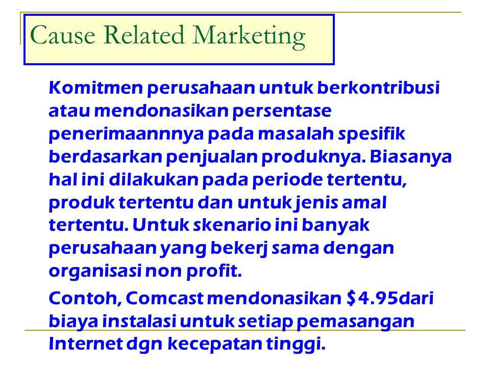 Cause Related Marketing; making contributions to causes based on product sales Ruang lingkup partisipasi corporate pada CRM cukup besar ada beberapa tipe yaitu : sejumlah tertentu dari masing-masing product yang terjual, aplikasi atau account yang dibuka, persentase dari penjualan atau transaksi, dan persentase dari net profit.