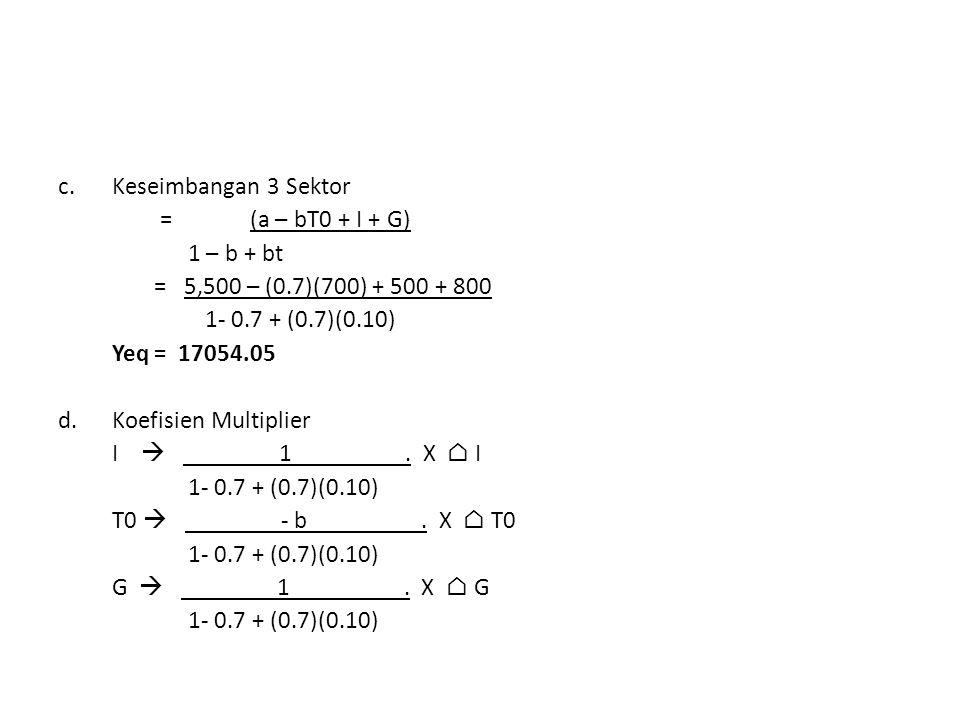 c.Keseimbangan 3 Sektor = (a – bT0 + I + G) 1 – b + bt = 5,500 – (0.7)(700) + 500 + 800 1- 0.7 + (0.7)(0.10) Yeq= 17054.05 d.Koefisien Multiplier I 