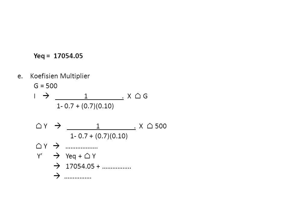 Yeq= 17054.05 e. Koefisien Multiplier G = 500 I  1. X ⌂ G 1- 0.7 + (0.7)(0.10) ⌂ Y  1. X ⌂ 500 1- 0.7 + (0.7)(0.10) ⌂ Y  ………………. Y'  Yeq + ⌂ Y  1