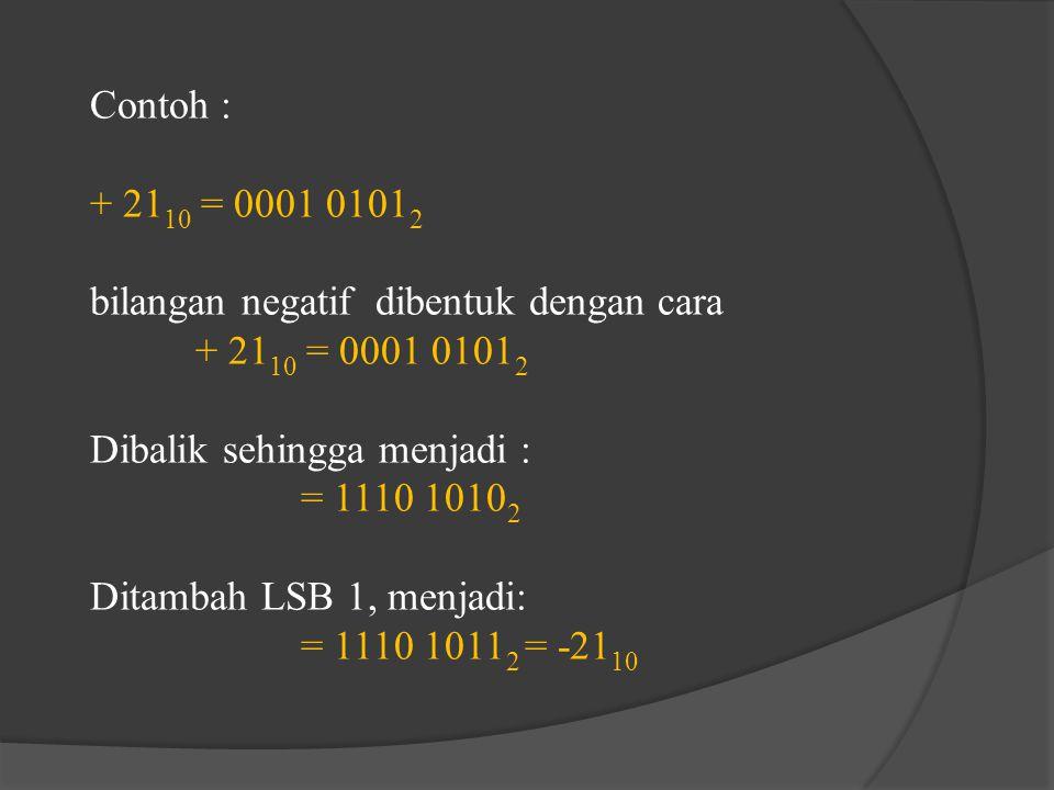 Contoh : + 21 10 = 0001 0101 2 bilangan negatif dibentuk dengan cara + 21 10 = 0001 0101 2 Dibalik sehingga menjadi : = 1110 1010 2 Ditambah LSB 1, me