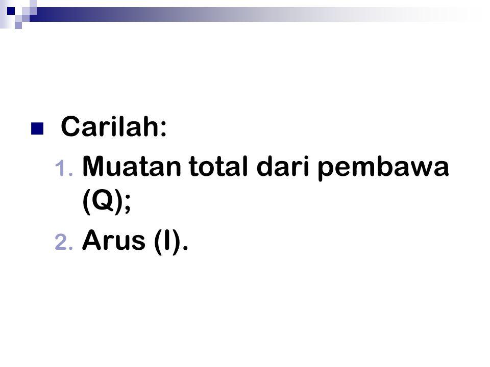 Carilah: 1. Muatan total dari pembawa (Q); 2. Arus (I).