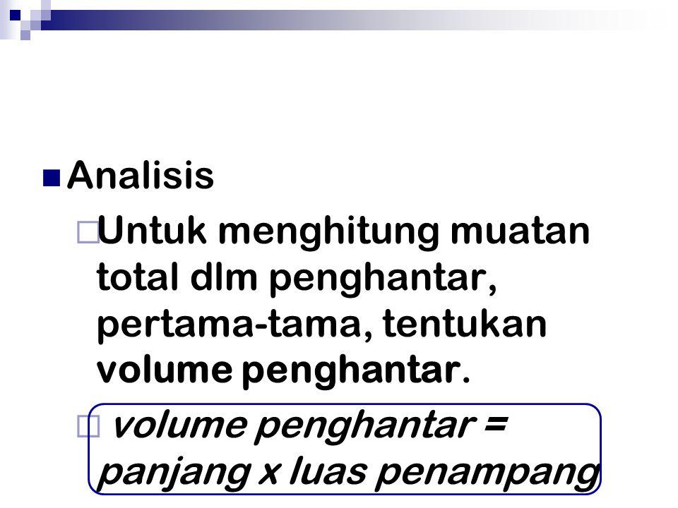 Analisis  Untuk menghitung muatan total dlm penghantar, pertama-tama, tentukan volume penghantar.  volume penghantar = panjang x luas penampang