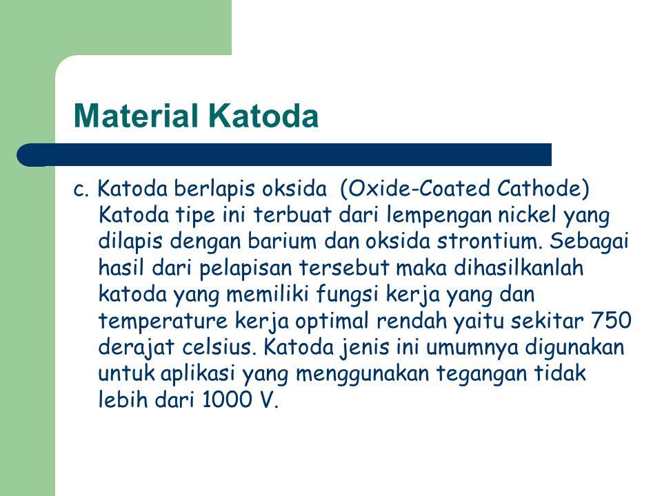 Material Katoda c. Katoda berlapis oksida (Oxide-Coated Cathode) Katoda tipe ini terbuat dari lempengan nickel yang dilapis dengan barium dan oksida s