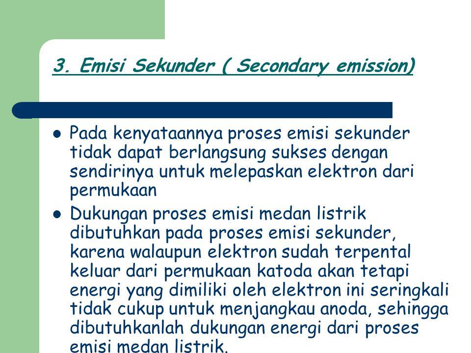 3. Emisi Sekunder ( Secondary emission) Pada kenyataannya proses emisi sekunder tidak dapat berlangsung sukses dengan sendirinya untuk melepaskan elek
