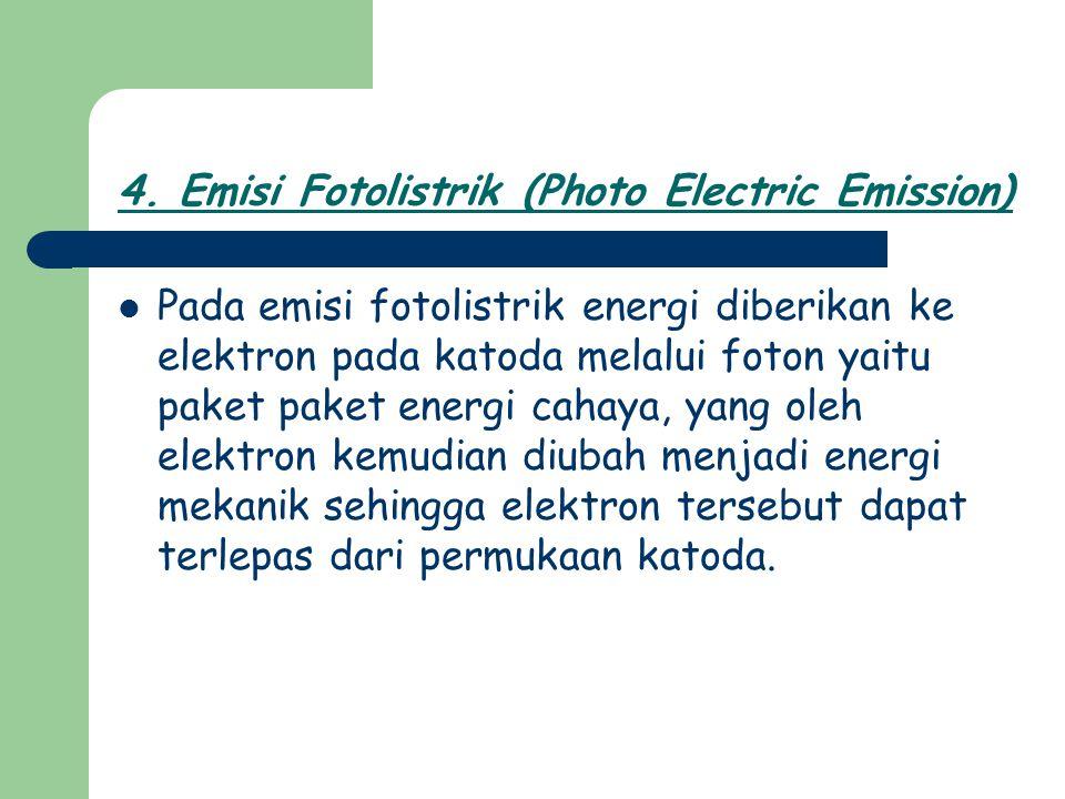 Pada emisi fotolistrik energi diberikan ke elektron pada katoda melalui foton yaitu paket paket energi cahaya, yang oleh elektron kemudian diubah menj