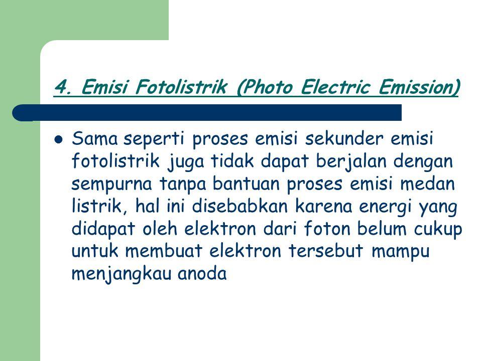 Sama seperti proses emisi sekunder emisi fotolistrik juga tidak dapat berjalan dengan sempurna tanpa bantuan proses emisi medan listrik, hal ini diseb