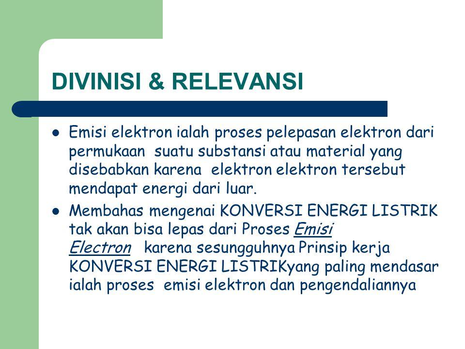 DIVINISI & RELEVANSI Emisi elektron ialah proses pelepasan elektron dari permukaan suatu substansi atau material yang disebabkan karena elektron elekt