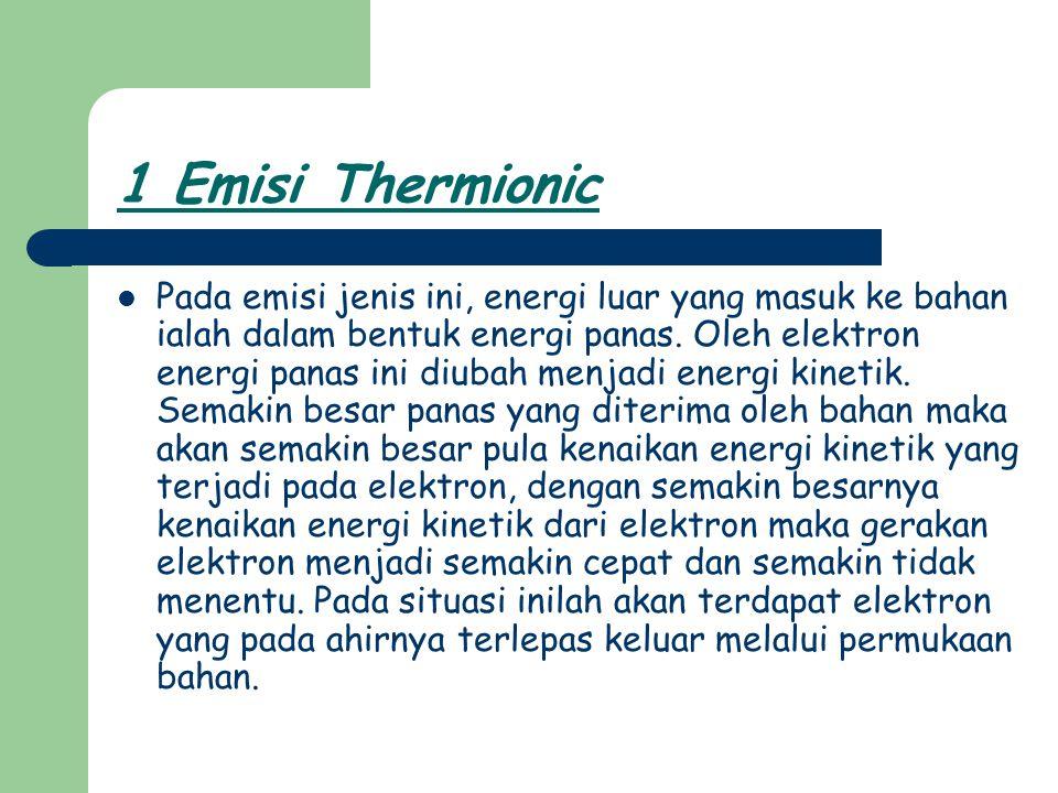 1 Emisi Thermionic Pada emisi jenis ini, energi luar yang masuk ke bahan ialah dalam bentuk energi panas. Oleh elektron energi panas ini diubah menjad