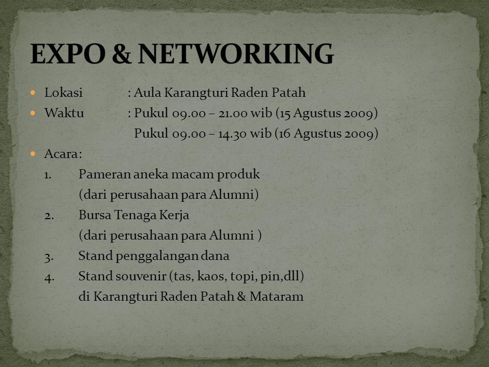 Lokasi: Aula Karangturi Raden Patah Waktu: Pukul 09.00 – 21.00 wib (15 Agustus 2009) Pukul 09.00 – 14.30 wib (16 Agustus 2009) Acara: 1. Pameran aneka