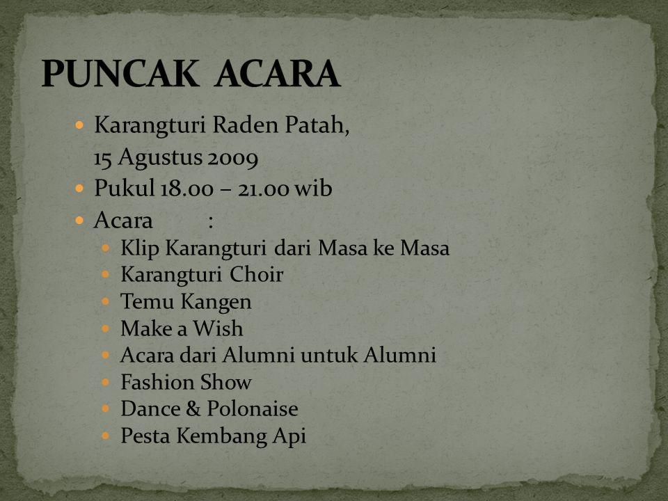 Karangturi Raden Patah, Minggu, 16 Agustus 2009 Pukul 07.00 – 09.00 wib Acara Lomba antar Alumni Basket, tenis meja, Lomba-lomba Pitulasan: maze, sepak terong, estafet,dll