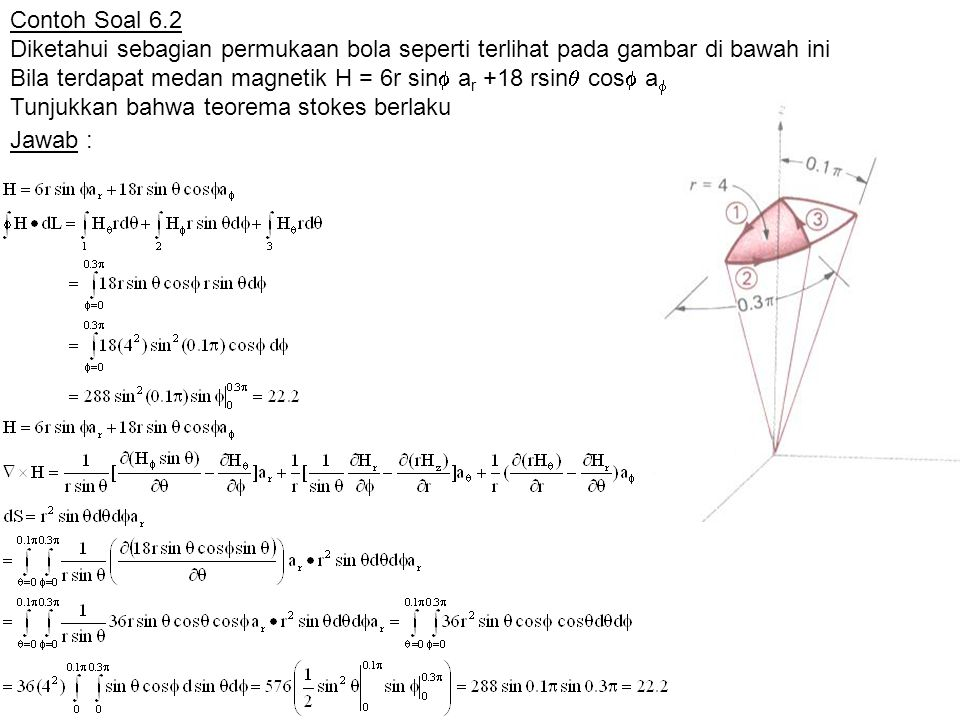 Contoh Soal 6.2 Diketahui sebagian permukaan bola seperti terlihat pada gambar di bawah ini Bila terdapat medan magnetik H = 6r sin  a r +18 rsin  c