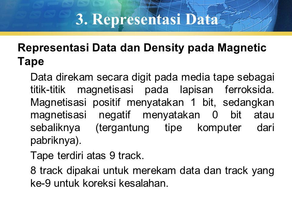 3. Representasi Data Representasi Data dan Density pada Magnetic Tape Data direkam secara digit pada media tape sebagai titik-titik magnetisasi pada l
