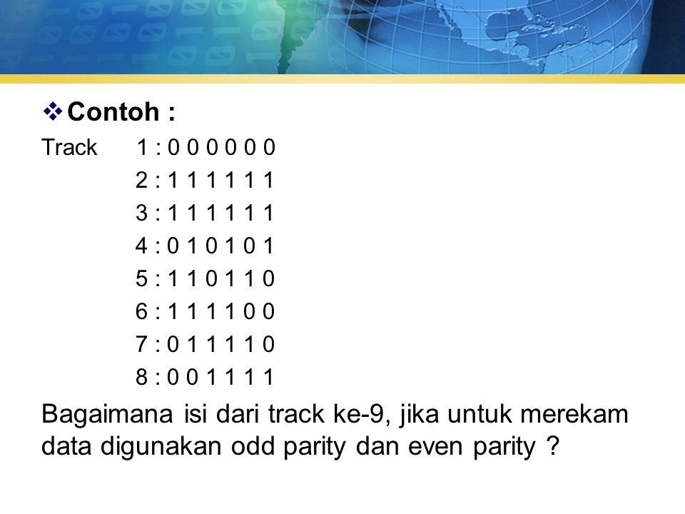  Contoh : Track 1 : 0 0 0 0 0 0 2 : 1 1 1 1 1 1 3 : 1 1 1 1 1 1 4 : 0 1 0 1 0 1 5 : 1 1 0 1 1 0 6 : 1 1 1 1 0 0 7 : 0 1 1 1 1 0 8 : 0 0 1 1 1 1 Bagaimana isi dari track ke-9, jika untuk merekam data digunakan odd parity dan even parity ?