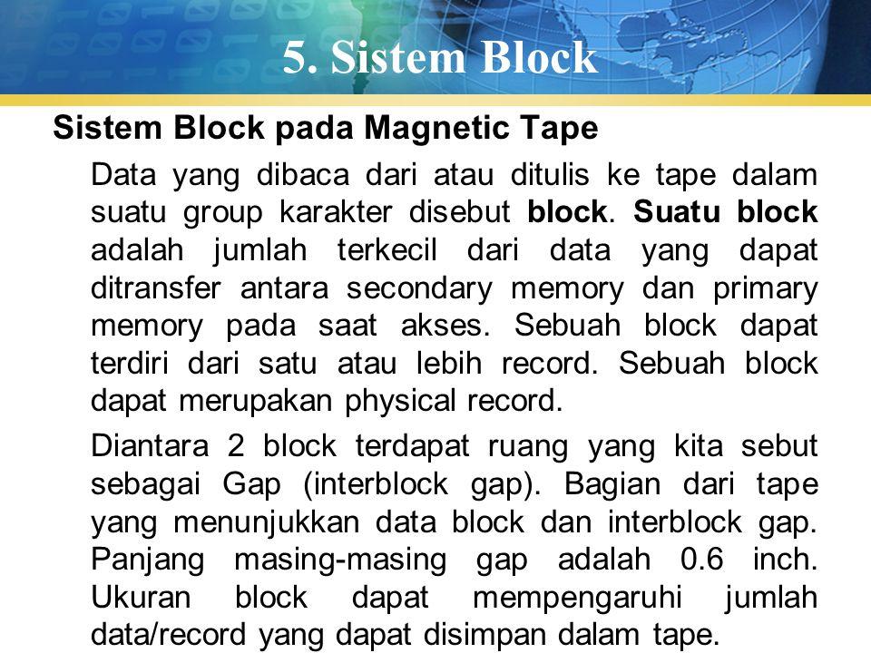 5. Sistem Block Sistem Block pada Magnetic Tape Data yang dibaca dari atau ditulis ke tape dalam suatu group karakter disebut block. Suatu block adala