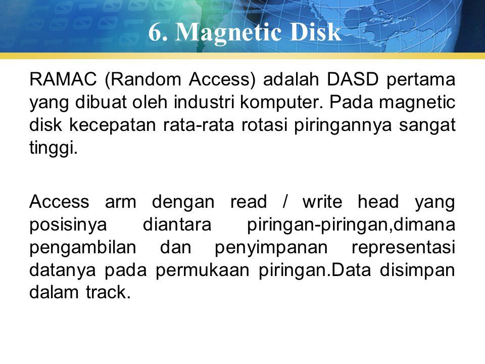 6.Magnetic Disk RAMAC (Random Access) adalah DASD pertama yang dibuat oleh industri komputer.