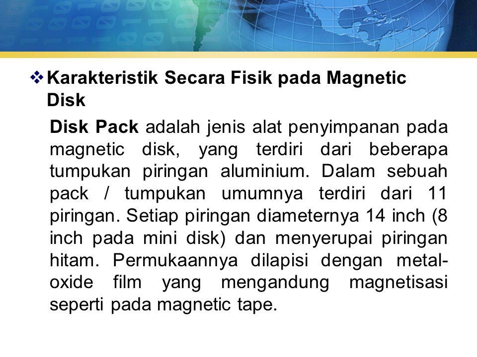  Karakteristik Secara Fisik pada Magnetic Disk Disk Pack adalah jenis alat penyimpanan pada magnetic disk, yang terdiri dari beberapa tumpukan piringan aluminium.