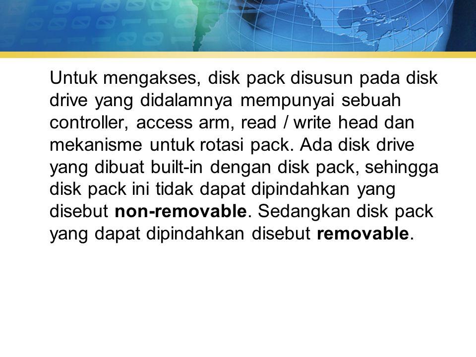 Untuk mengakses, disk pack disusun pada disk drive yang didalamnya mempunyai sebuah controller, access arm, read / write head dan mekanisme untuk rotasi pack.