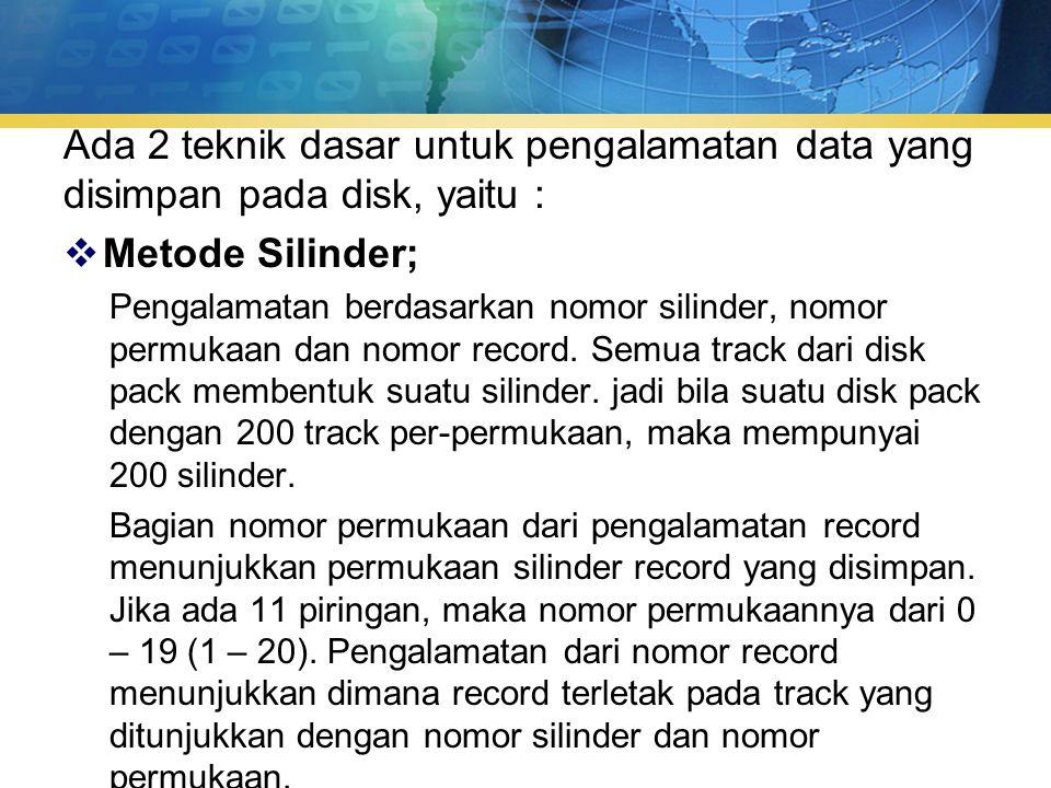 Ada 2 teknik dasar untuk pengalamatan data yang disimpan pada disk, yaitu :  Metode Silinder; Pengalamatan berdasarkan nomor silinder, nomor permukaan dan nomor record.
