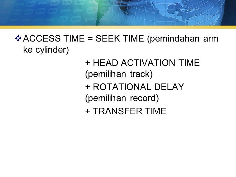  ACCESS TIME = SEEK TIME (pemindahan arm ke cylinder) + HEAD ACTIVATION TIME (pemilihan track) + ROTATIONAL DELAY (pemilihan record) + TRANSFER TIME
