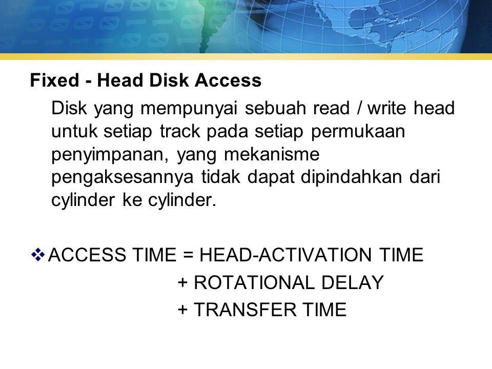 Fixed - Head Disk Access Disk yang mempunyai sebuah read / write head untuk setiap track pada setiap permukaan penyimpanan, yang mekanisme pengaksesannya tidak dapat dipindahkan dari cylinder ke cylinder.
