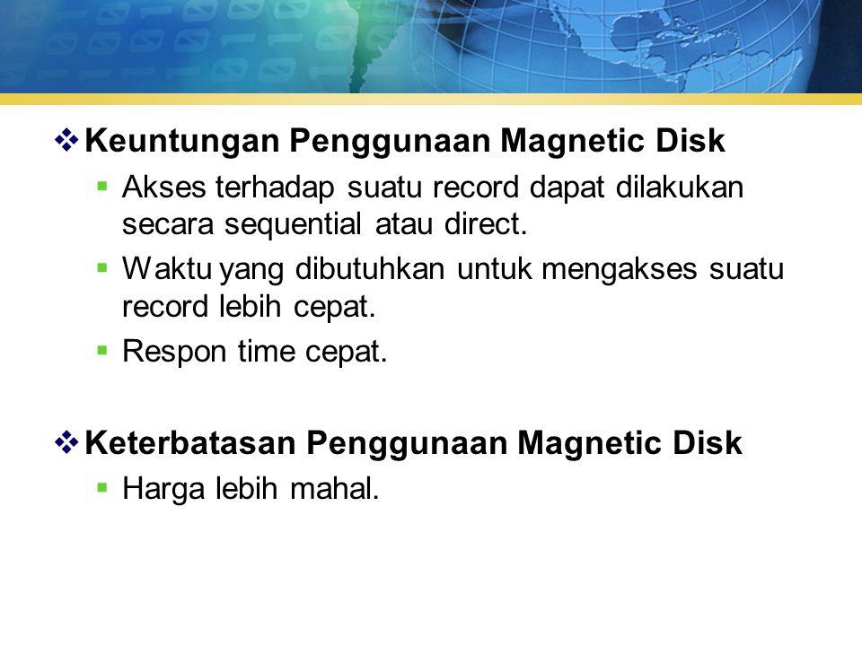  Keuntungan Penggunaan Magnetic Disk  Akses terhadap suatu record dapat dilakukan secara sequential atau direct.