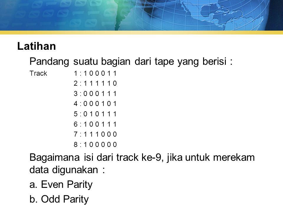 Latihan Pandang suatu bagian dari tape yang berisi : Track 1 : 1 0 0 0 1 1 2 : 1 1 1 1 1 0 3 : 0 0 0 1 1 1 4 : 0 0 0 1 0 1 5 : 0 1 0 1 1 1 6 : 1 0 0 1 1 1 7 : 1 1 1 0 0 0 8 : 1 0 0 0 0 0 Bagaimana isi dari track ke-9, jika untuk merekam data digunakan : a.