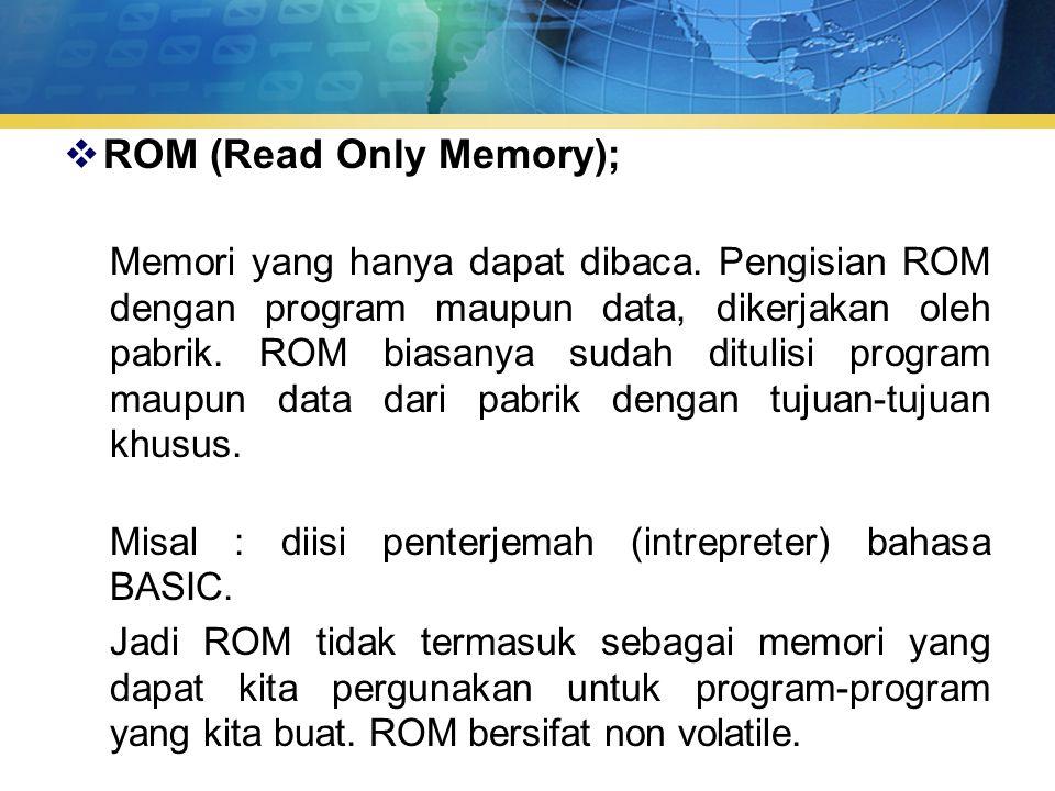 Tipe-tipe lain dari ROM chip :  PROM (Programmable Read Only Memory); Jenis dari memori yang hanya dapat diprogram.
