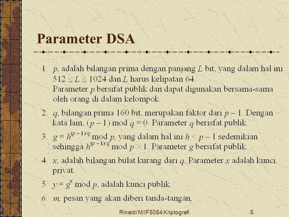 Rinaldi M/IF5054 Kriptografi5 Parameter DSA