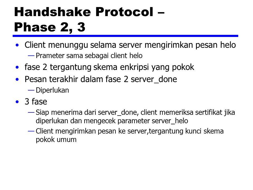 Handshake Protocol – Phase 2, 3 Client menunggu selama server mengirimkan pesan helo —Prameter sama sebagai client helo fase 2 tergantung skema enkrip